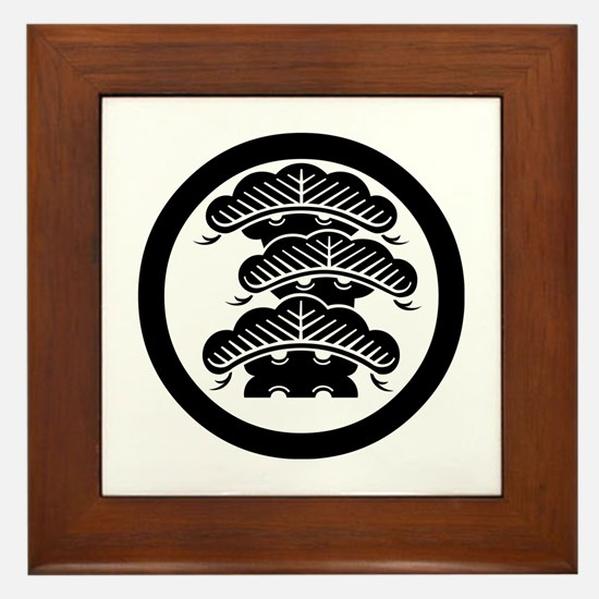 Three-tiered pine R with arashi in circle Framed T