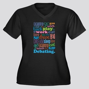 Debating Women's Plus Size V-Neck Dark T-Shirt