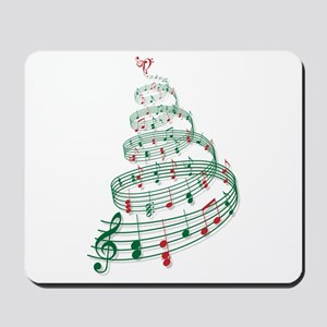 Christmas tree with music notes and heart Mousepad