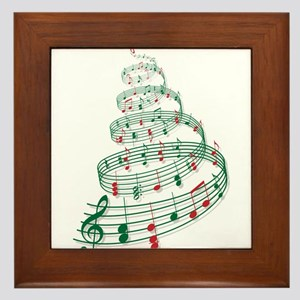 Christmas tree with music notes and heart Framed T