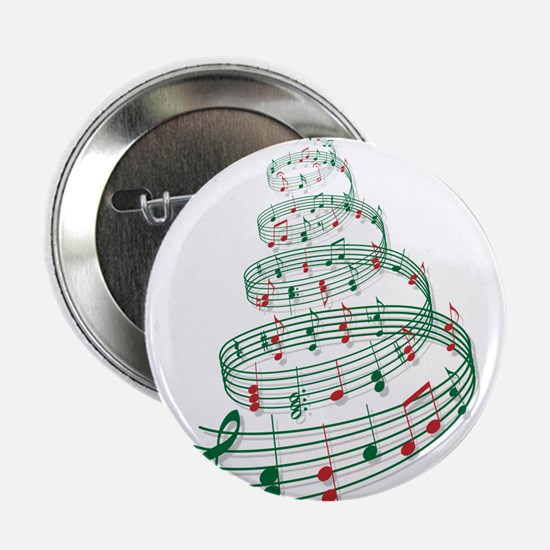 """Christmas tree with music notes and heart 2.25"""" Bu"""