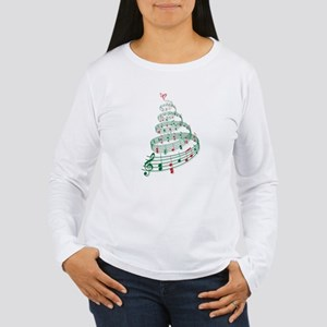 Christmas tree with music notes and heart Women's