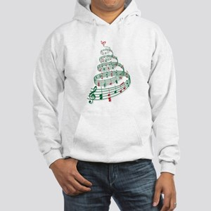 Christmas tree with music notes and heart Hooded S