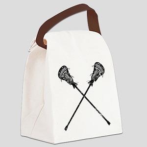 Distressed Lacrosse Sticks Canvas Lunch Bag