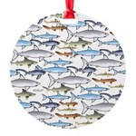 School of Sharks 1 Round Ornament