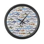 School of Sharks 1 Large Wall Clock