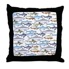 School of Sharks 1 Throw Pillow