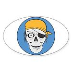 Colored Pirate Skull Oval Sticker
