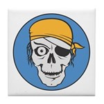 Colored Pirate Skull Tile Coaster