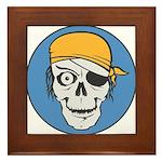 Colored Pirate Skull Framed Tile
