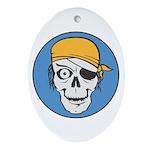 Colored Pirate Skull Oval Ornament