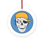 Colored Pirate Skull Ornament (Round)