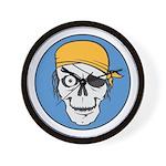 Colored Pirate Skull Wall Clock