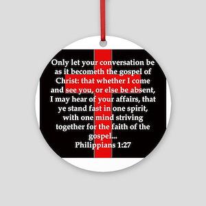 Philippians 1:27 Round Ornament