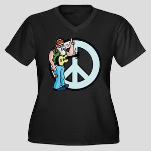 Funny Peace Women's Plus Size V-Neck Dark T-Shirt