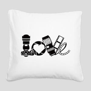 Camera Love Square Canvas Pillow