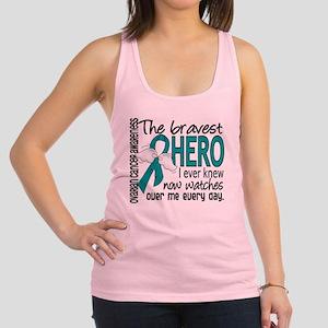Bravest Hero I Knew Ovarian Cancer Racerback Tank