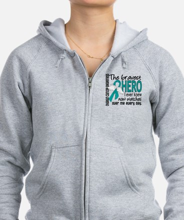 Bravest Hero I Knew Ovarian Cancer Zip Hoodie