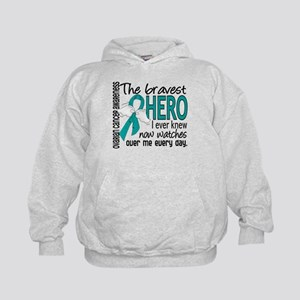 Bravest Hero I Knew Ovarian Cancer Kids Hoodie