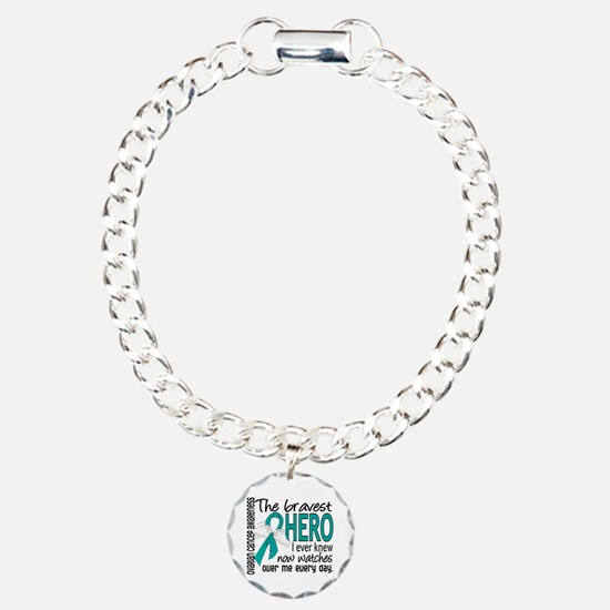 Bravest Hero I Knew Ovarian Cancer Charm Bracelet,