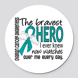 Bravest Hero I Knew Ovarian Cancer Round Car Magne