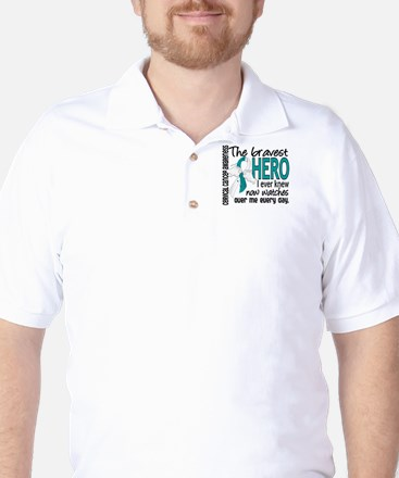 Bravest Hero I Knew Cervical Cancer Golf Shirt