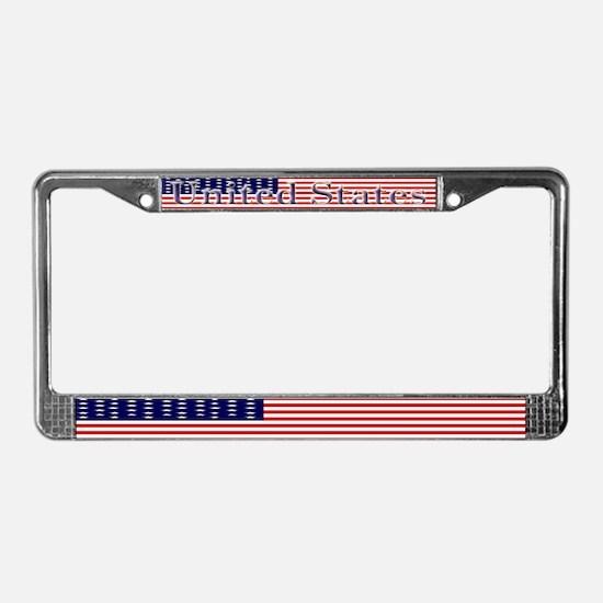 Old Glory US Flag License Plate Frame