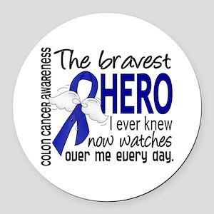 Bravest Hero I Knew Colon Cancer Round Car Magnet