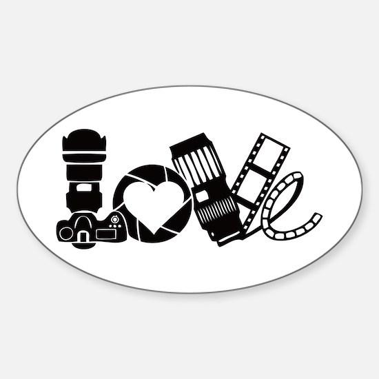Camera Love Sticker (Oval)