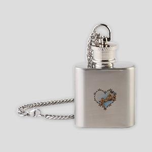 Giraffe & Calf Xmas Heart Flask Necklace