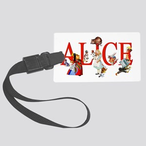 Alice and Her Friends in Wonderl Large Luggage Tag