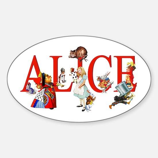 Alice and Her Friends in Wonderland Sticker (Oval)