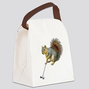 Golfing Squirrel Canvas Lunch Bag