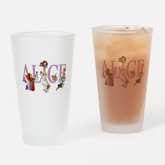 Alice and Her Friends in Wonderland Drinking Glass