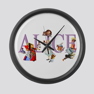 Alice and Her Friends in Wonderla Large Wall Clock