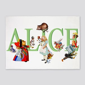 Alice and Her Friends in Wonderland 5'x7'Area Rug