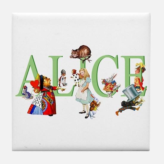 Alice and Her Friends in Wonderland Tile Coaster