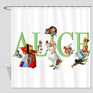 Alice and Her Friends in Wonderland Shower Curtain