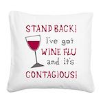 Wine Flu Square Canvas Pillow