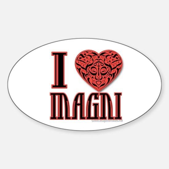 I Love Magni Oval Decal