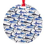 School of Marlin and a Swordfish Round Ornament