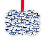 School of Marlin and a Swordfish Picture Ornament