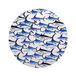 School of Marlin and a Swordfish Ornament (Round)