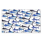 School of Marlin and a Swordfish Sticker (Rectangl