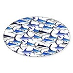 School of Marlin and a Swordfish Sticker (Oval)