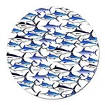 School of Marlin and a Swordfish Round Car Magnet