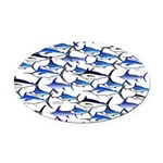 School of Marlin and a Swordfish Oval Car Magnet