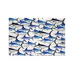 School of Marlin and a Swordfish Rectangle Magnet
