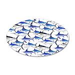 School of Marlin and a Swordfish 20x12 Oval Wall D