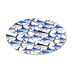 School of Marlin and a Swordfish 20x12 Oval Wall D